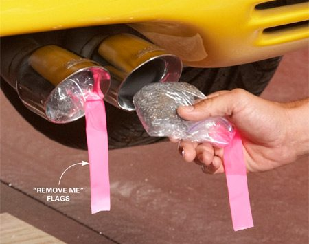 <b>Stuff the tailpipe</b></br> Load a steel wool pad into a sandwich bag and jam it into the tailpipe(s). Mark the bags with bright flags to remind you to remove them next spring.