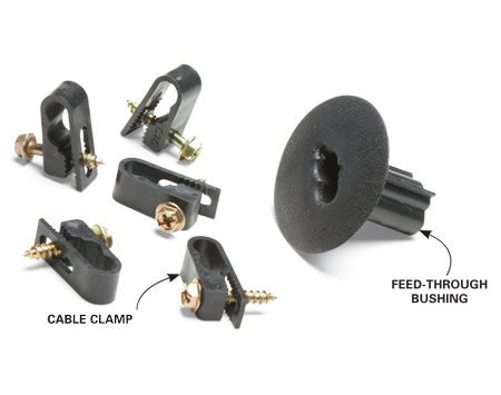 <b>Cable fittings</b></br> Use cable clamps to hold wire in place. Always insert feed-through bushings into holes through siding, and seal them with silicone caulk.
