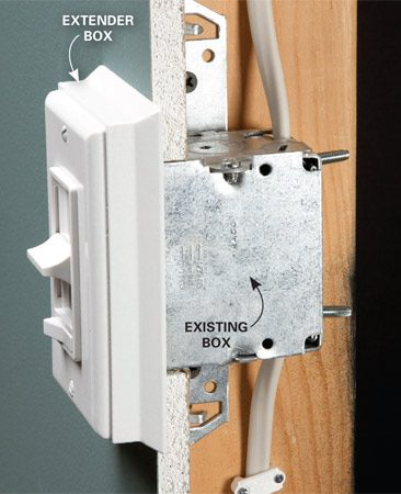 <b>Photo 1: The easy but less elegant way</b></br> Remove the old switch (power off) and screw the extender box on top of the old box. Then install the new switch and cover plate on the extension box.