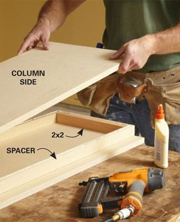 <b>Photo 2: Assemble the columns</b></br> Wood glue creates a strong bond on particleboard and makes a strong assembly. Use brads to hold the parts together until the glue sets.