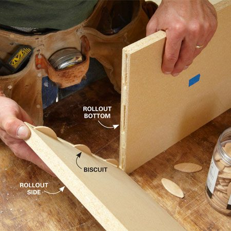 <b>Photo 8: Assemble the rollouts</b></br> Join the sides to the top and bottom of the rollouts with biscuits and wood glue. Clamp the parts together until the glue sets.