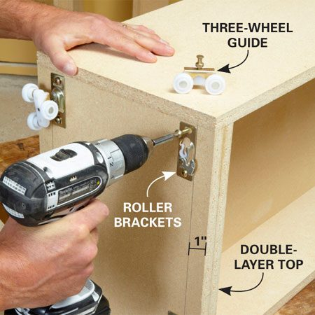 <b>Photo 10: Mount the rollers</b></br> Adjustable rollers allow you to fine-tune the rollout shelves after they're installed. Each pair of rollers is rated for 125 lbs., for a total weight limit of 250 lbs. per rollout.