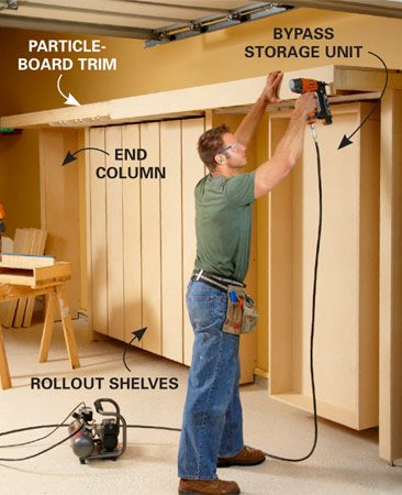 <b>Photo 12: Add the finishing touches</b></br> Finish up by nailing strips of particleboard over the front edge of the top shelf and the face of the columns. You can stain or paint the particleboard or just brush a coat or two of polyurethane over it.