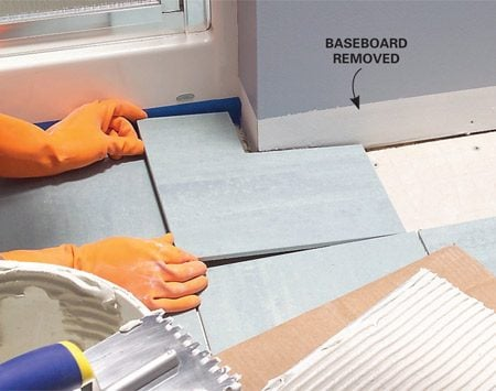 <b>Give yourself some wiggle room</b></br> With baseboards removed, measurements and cuts don't have to be precise. That means faster work and fewer miscut tiles on the scrap pile.