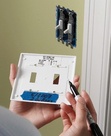 <b>Write information on the switch plate</b><br/>When you're finishing a painting project, write on a piece of masking tape the date and how many gallons of paint were needed for the job. Stick the tape to the back of the light switch plate. To get the exact shade next time, also include the color formula sticker peeled off the paint can. When the room's due for a fresh coat, you'll be ready to go.
