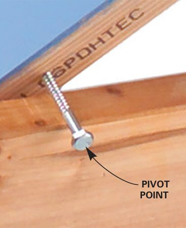 <b>Use single lag screw to pivot on a sawhorse</b></br>