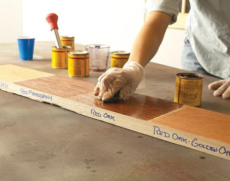 <b>Test stain color on project scraps</b><br/>You can't rely on those stain samples on display in stores. Actual color varies a lot, depending on the type of wood and how you prepare it for finishing. So save scraps from your project, run them through the same sanding process and use them to test finishes. If you didn't build the item you're finishing, run tests on an inconspicuous area&mdash;the underside of a table, for example. Test stain on scraps to get the color you want. Leaving excess stain on the wood for longer or shorter periods won't affect the color much. If it's a custom color you''e after, you can mix stains of the same brand.