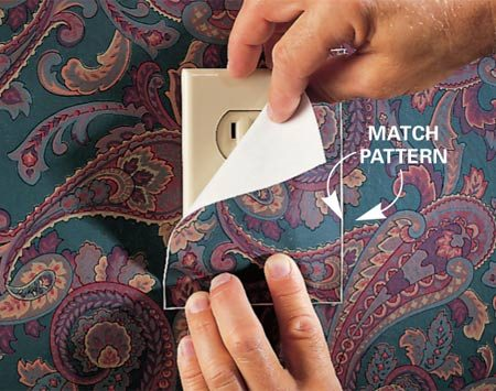 <b>Photo 1: Match surrounding pattern</b><br/>To cover and create outlet or switch plate covers that match the pattern of the surrounding wall, follow these steps: Match the pattern on a scrap piece of wallpaper with that on the surrounding wall (Photo 1).