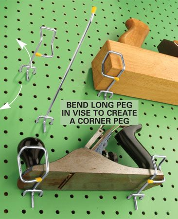 <b>Secure tools with a bent pegboard holder</b></br> Ever had a plane, level or square get dinged up after falling off the pegboard? Never again. Bend an 8-in.-long pegboard holder into a corner shape by holding it in a vise and pounding it with a hammer to make the series of right angles. Make one corner to hold the left side of the tool and another to hold the right. Now just hold the tool up to the pegboard and insert the corner peg so it clasps the tool's corner.