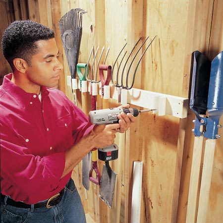 <b>Build a PVC pipe tool rack</b></br> Build this PVC rack to store your tools on the wall. Use a jigsaw to cut a 1-1/4-in.-wide notch down the length of a 2-in.-dia. PVC pipe. Cut several 3-1/2-in.-long sections with a hacksaw or miter saw, and drill two 1/8-in. holes behind the notch. Use 1-1/4-in. drywall screws to attach these pieces to a 2x4 screwed to the wall.