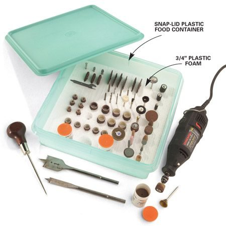 <b>Store rotary bits in foam-filled container</b></br> This rotary-bit organizer may just inspire a renaissance of rotary tool use in your shop. Friction-fit a piece of 3/4-in. plastic foam in a snap-lid plastic food container. Then poke holes in the plastic foam with an awl to hold shafted bits, and slice crevices with a utility knife to hold cutoff discs. Using a spade bit at high speed, drill sockets for larger bits and tube-shape containers. Once your bits are in order, you can rediscover how useful they can be.