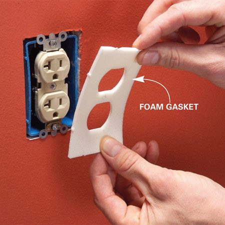 <b>Use foam gaskets to seal electrical boxes</b></br> <p>According to  energy experts, electrical boxes that hold switches   or outlets are  major sources of heat loss.   Foam gaskets ($3  for a pack of 12 at home   centers) won't  completely seal the boxes,   but they'll help.  They're quick to install—   just take off the  cover plate, stick the gasket   over the box, then put the plate back on. </p>
