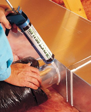 <b>Use silicone caulk and foil tape</b></br> <p>Sealing leaky  joints in heating ducts is easy, cheap,   and can reduce  your energy costs by hundreds of dollars a years.    Simply buy  aluminum-colored silicone caulk and caulk every joint    in rectangular  ductwork (clean the joints first with a household    spray cleaner and  a rag to remove dust). Use the caulk to seal around    the take-off boots  to each branch run. Buy high-temperature UL181    aluminum foil tape  in the duct section of a home center and use that  to seal the joints of round ductwork.</p>