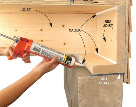 <b>Seal sill plates and rim joists</b></br> <p>Sill plates and  rim joists are usually poorly insulated (if at all)   and very leaky. So  if you have an unfinished basement, grab   some silicone or  acrylic latex caulk to seal the sill plate. If you   simply have  fiberglass insulation stuffed against the rim joist,   pull it out. Run a  bead of caulk between the edge of the sill   plate and the top  of the foundation wall. Use expanding spray   foam anywhere  there are gaps larger than 1/4 in. between the   sill and the  foundation. </p>