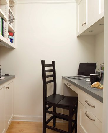 "<b>Build a kitchen office into your remodel</b></br> <p>If you want to use your  kitchen as an   office, make it part of  the remodel. You   don't need a lot of space.  A small seating   area with a computer  station is   often adequate. During the  remodel, add Internet   access and outlets for  plugging in your   computer equipment (visit familyhandyman.com and search for ""add outlets""). Also   add storage space like  shelving or a   recessed wall cabinet so  your paperwork   won't  get lost or create a mess. </p>"