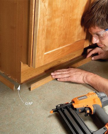 <b>Double-check measuring</b></br> <p>If you're keeping your existing  floor and   replacing your cabinets,  you may   have to deal with gaps  between the   old floor and the new  cabinets. Base   cabinets are usually 24  in. deep, but   toe-kick depths vary.  Cabinet widths   run in 3-in. increments  from 6 in. to   48 in. If the new cabinets  don't fit   the existing cabinet  footprint, you'll   be left with gaps. Be sure  the total width   of the new cabinets  matches the   overall width of the ones  you're   replacing.  Hide gaps smaller    than  3/4 in. with molding. </p>