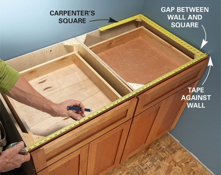 <b>Measure installed cabinets before ordering</b></br> <p>Measure your installed   base cabinets to determine  the   countertop  dimensions—don't   use the ones on your  plans. The   row of cabinets may have a  different   dimension after  installation   due to out-of-square  walls.   Place a carpenter's   square in the corner over   the end cabinet. The  corner might be   narrower than the rest of  the wall because   of layers of joint  compound.   Measure to the farthest  point   on the wall over the  cabinets   to avoid an ugly gap  between   the countertop and the  wall   after the countertops are   installed.</p>