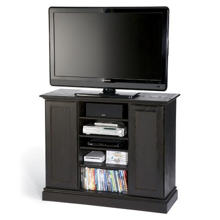 <b>Ebony TV stand</b></br> <p>With technology changing so  fast, it didn't seem smart to sink a   lot of money into a TV stand.  But inexpensive stands didn't   have the features I wanted:  enclosed storage and lots of shelves   for electronic components.  This stand gives me those things,   plus it's rock solid. Some  inexpensive stands are rated to support   75 lbs. or less. This thing  would hold a V-8 engine block. It's   sized for a 42-in. TV, but you  could easily make it bigger by spacing   the cabinets farther apart or  choosing wider cabinets. It's   taller than most stands, which  may be good or bad, depending   on your situation. </p>