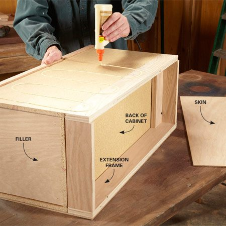 "<b>Photo 1: Extend the depth and cover the sides</b></br> <p>""Skin""  the sides with plywood after you screw extension frames to the   cabinets.  The frames give the TV stand extra shelf depth for electronic   components  and create a cavity for wires behind the cabinets. Also glue fillers   into the recesses at the top and bottom of the  cabinets. </p>"