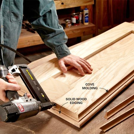 <b>Photo 3: Make the top</b></br> Edge the plywood top with solid wood and round the edges with a router. Glue scraps of plywood to the underside of the top and add cove molding.