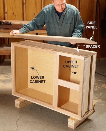 <b>Photo 1: Cover the sides</b></br> Screw two cabinets together and glue spacer strips to the sides. Then glue on the side panels. Tack the panel into place, positioning nails where they'll be hidden by the legs or rails later.