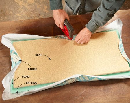 <b>Photo 1: Upholster the seat</b></br> Lay out the fabric, batting and foam. Stretch and staple the fabric to the seat, starting at the middle of each side and working toward the corners.