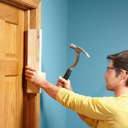 <b>The most elegant fix: Shift the doorstop</b></br> Close the door and hold a block of wood against the doorstop. Smack the wood until the door stop moves enough to touch the door. Then secure the door stop with 1-1/4-in. finish nails.