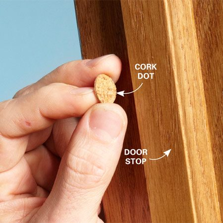 "<b>Or, fill the gap with a ""dot""</b></br> Close the door and look for the largest gap between the door and the door stop. Fill the gap with a dot that matches the size of the gap. Just press the dot onto the door stop and cut off any overlap with a utility knife."