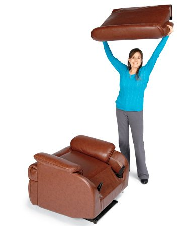 <b>Look for locking levers</b></br> <p>To move big recliners with  ease, find the back brackets on the outside or inside of the back frame. Lift the  locking levers on both sides (you may need to use long-nose pliers) and slide  the back    straight up to remove it from  the recliner. Always lift a recliner from the sides, not by    the  back or footrest. Tie the footrest in place so it doesn't spring open. </p>