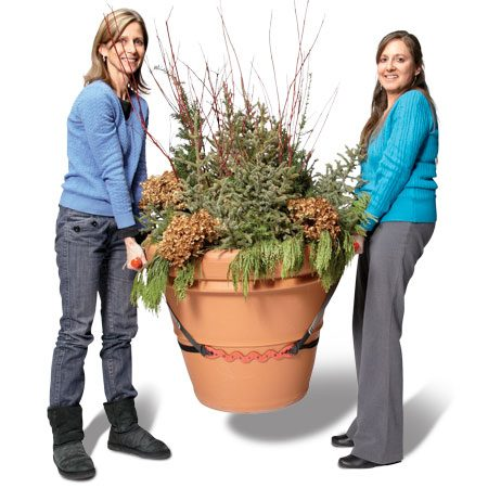 <b>Great tool for big pots</b></br> <p><a href='http://www.amazon.com/gp/product/B002ECFFJ8/ref=as_li_qf_sp_asin_il_tl?ie=UTF8&tag=familhandy-20&linkCode=as2&camp=1789&creative=9325&creativeASIN=B002ECFFJ8' target='_blank'>PotLifter</a>  plant straps let you tote up to 200 lbs.   without straining. </p>