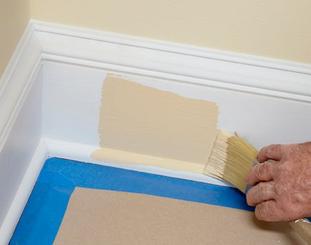 <b>Keep corners smooth</b><br/><p>It&rsquo;s natural to load your  brush with paint and stick it into the corner to    start painting. But you&rsquo;ll end  up with too much paint in the corner, where    it&rsquo;s difficult to spread out.  Instead, start laying on the paint about 4 to 6    in. from inside corners, and  then spread the paint back into the corner    with the brush. You&rsquo;ll get a  nice, smooth paint job without excess paint    buildup  at inside corners. </p>
