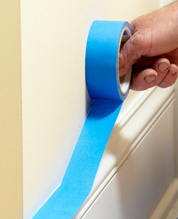 <b>Tape trick</b><br/><p>The key to perfect masking is  to keep the    tape straight and tight to the  wall. Here&rsquo;s a    tip to simplify the job. Stick  about 6 in. of    tape to the molding. Then,  with the tape    roll held tight against the  wall, unroll    about 6 more    inches of tape.    Rotate the roll    down until this    section of tape is    stuck and repeat    the process. The    trick is to keep    the roll of tape    against the wall.    It takes a little    practice to    master this technique,    so don&rsquo;t    give up. Once    you learn to    tape this way,    your speed    and accuracy    will    increase    dramatically. </p>