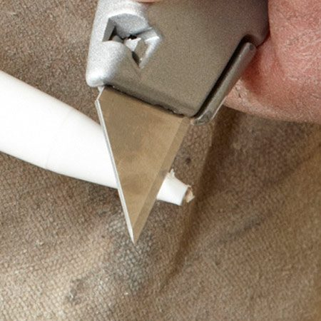 <b>Small hole is better</b><br/><p>A common mistake is to cut    off too much of the caulk tube    tip, leaving a hole that&rsquo;s way    too big for most interior    caulking work. When you&rsquo;re    filling small cracks to prepare    for painting, cut the tip carefully    to keep the hole tiny&mdash;about 1/16 in. in diameter. The    tiny hole lets out just enough    caulk to fill typical small- to    medium-size cracks.</p> <p>For larger cracks, make a    second pass or keep a second    caulk gun on hand, loaded    with a tube that has a slightly    bigger hole. Keep the caulk    gun moving quickly along the    crack as you squeeze the trigger.    This, combined with the    small opening in the tip, will    give you a nice caulk joint that    needs very little cleanup. A    quick swipe with a dampened    fingertip will leave a paint-ready    joint. </p>