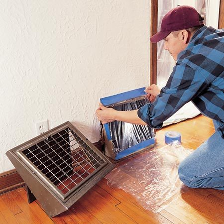 <b>Seal off ducts</b><br/>Tape plastic over ducts to keep sanding dust out.