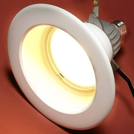 <b>EcoSmart LED Downlight. 10.5 watts, dimmable for recessed or track lights</b></br> Nice, warm light and very popular among consumers. This fits most standard and shallow 6-in. incandescent cans, but it cannot be used in totally enclosed recessed fixtures. Available for about $40 at The Home Depot.