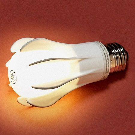 <b>GE Energy Smart LED 9-watt bulb (40-watt equivalent), omnidirectional light.</b></br> The fins spread light all around the bulb instead of in one direction, as most current LEDs do. Life span rating of 25,000 hours. Available for about $55 at Lowe's, Target, Wal-Mart, online retailers and through our affiliation with <a href='http://www.amazon.com/gp/product/B005782PU8/ref=as_li_qf_sp_asin_il_tl?ie=UTF8&tag=familhandy-20&linkCode=as2&camp=1789&creative=9325&creativeASIN=B005782PU8' target='_blank'>amazon.com</a>.