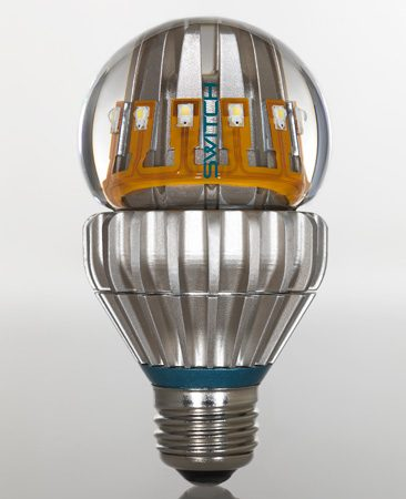Switch60 warm white LED bulb<br/>Photo courtesy of Switchlight