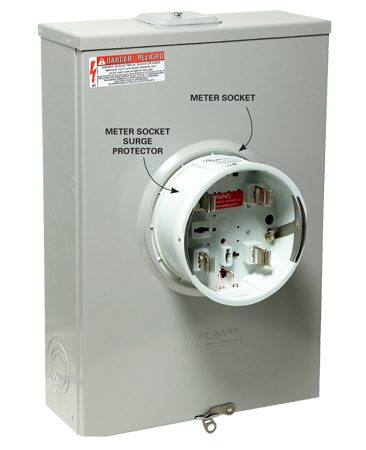 Surge protector connected to the electric meter socket