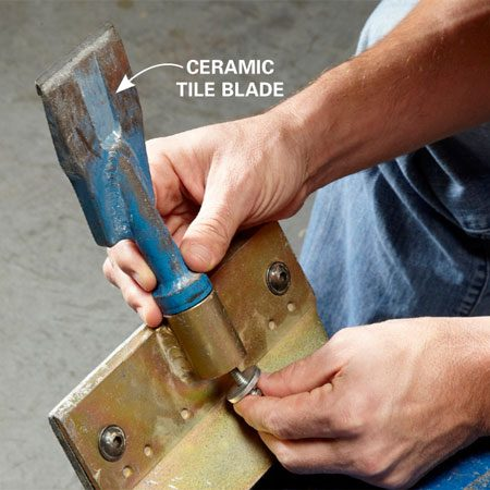 Ceramic tile blade on scraper
