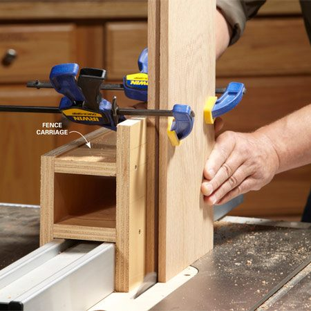 <b>Photo 3: Mortise the rails</b></br> <p>Build a  carriage that rides along the   fence to  hold the rails upright. You'll need to   reposition  the fence for this step, but don't   change  the blade settings. </p>
