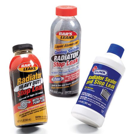 <b>Seal the cooling system</b></br> Add stop leak products directly to the radiator. If your vehicle doesn't have a radiator cap, remove the upper hose, siphon out some coolant and pour it into the radiator with a funnel.