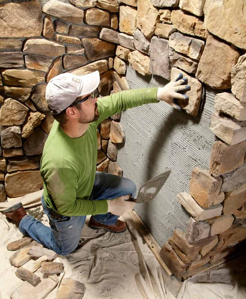 Modern stone installation tips the family handyman for How to install stone veneer over exterior brick