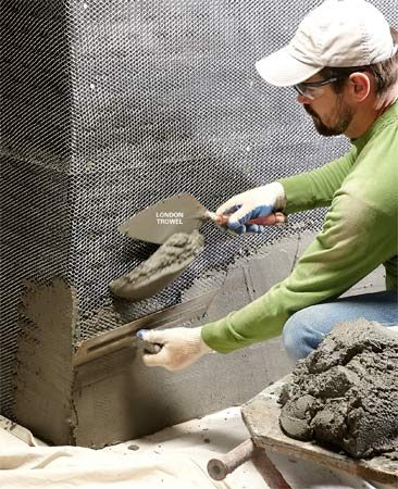 <b>Spread mortar faster</b></br> Use a two-trowel system to quickly spread mud evenly in the lath on the wall.