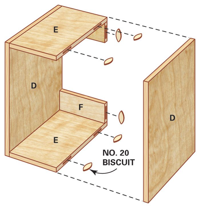 Technical drawing of small closet organizer box and its dimensions.