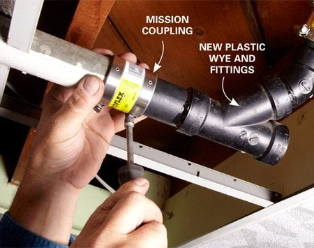 <b>Photo 5: Replace the cleanout plug and fitting</b></br> <p>Slide the  mission couplings onto the old   pipe and  slip in the new plastic fitting and repair   couplings.  Tighten the worm-drive clamps. Then   wrap  Teflon tape around the new plug and   screw it  into the adapter. </p>
