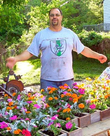 <b>Flower box project</b></br> Bill and friends make flower boxes for widows and single moms.