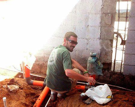 <b>Guatemala service project</b></br> Log Home Care employee Daniel Wells helped build a mission school in Guatemala.