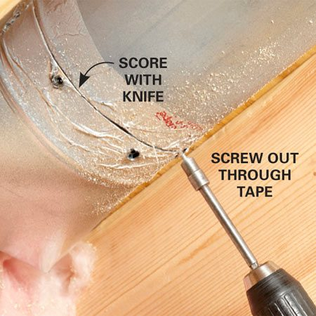 <b>Timesaver</b><br/><p>If you have to disassemble existing ductwork   fittings, there&rsquo;s no need to peel   off the old foil tape first. Instead,   just score the tape at the seam   with a utility knife and remove the   screws right through the tape.   When it comes time to retape, just   clean off the dust and apply new tape right over the old.</p>