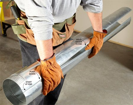 <b>Trick-of-the-trade</b><br/><p>When assembling pipe, start at one end   and work the seam together like a zipper. Use   one hand to keep the two edges close and the   other to apply downward pressure. Use your leg, a   workbench or the ground to support the back side   of the pipe. If you make a mistake and have to dismantle   a pipe, slam it down flat on the ground, seam side up. It should pop right apart.</p>