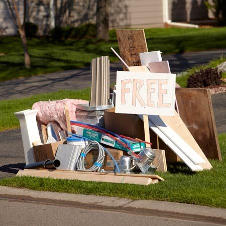 """<b>How to get rid of leftover building materials</b></br> <p>You know the old saying: """"One  man's trash is another man's treasure."""" The simplest way to get rid of unwanted  building materials is to just put it on the curb with a """"free"""" sign.  When Gary Wentz, one of our editors, knocked down a stone retaining wall, he  put a """"free stone"""" sign on the curb. People were  practically fighting over the rubble, and 12 tons of stone vanished in one afternoon.  But don't be surprised if something  reappears. Field Editor Cory Cochran put a freezer by the road with a sign that  read """"free—broke."""" It was gone the next day. Then a few days later, Cory  found it back in his yard. Maybe he should have added """"no returns"""" to the sign. </p>"""
